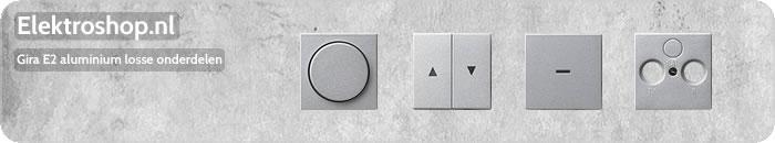 Gira E2 aluminium losse onderdelen seriewip controlevenster dimknop inzetplaat antenne telefonie USB touch-dimmeropzetstuk zekering dimmer