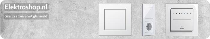 Gira E22 drukvlakschakelaars zuiverwit glanzend wisselschakelaar enkelpolig dubbelpolig drievoudig