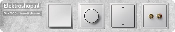 Gira F100 Zuiverwit glanzend schakelmateriaal dimmers schakelaars afdekramen wippen drukknoppen stopcontacten losse onderdelen