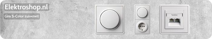 Gira S Color zuiverwit schakelmateriaal dimmers stopcontacten luidsprekeraansluiting afdekramen losse onderdelen wippen drukknoppen