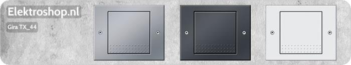 Gira TX_44 schakelaars en stopcontacten voor buiten aluminium antraciet en zuiverwit