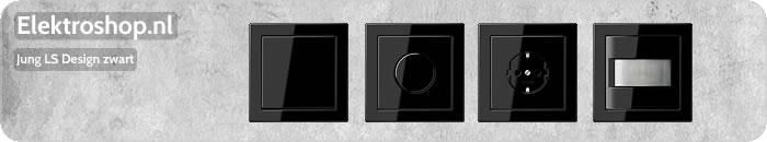 Jung LS Design afdekramen zwart schakelmateriaal