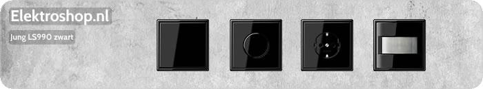 Jung LS990 zwart schakelmateriaal afdekramen dimmers muziek center losse onderdelen schakelaars drukknoppen wippen