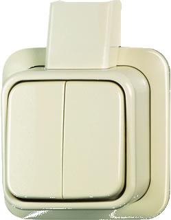 Busch jaeger opbouw serieschakelaar creme inclusief bijpassende montageplaat