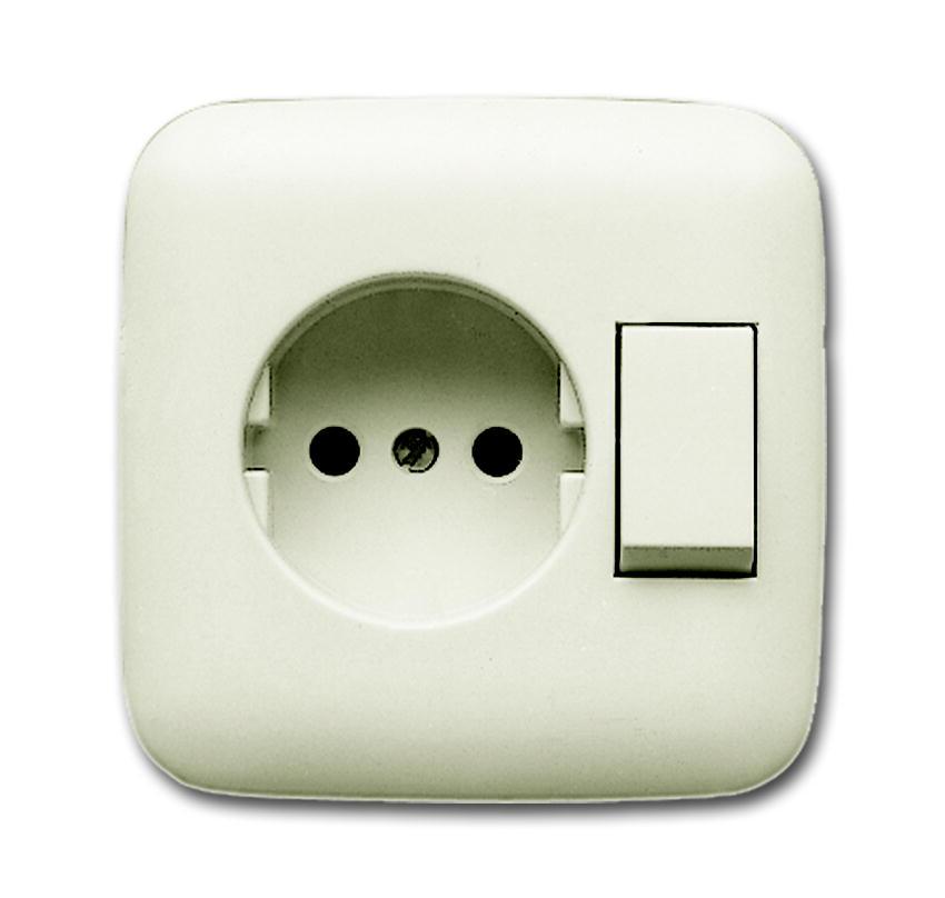 buschjaeger combinatie wandcontactdoos 1voudig met. Black Bedroom Furniture Sets. Home Design Ideas